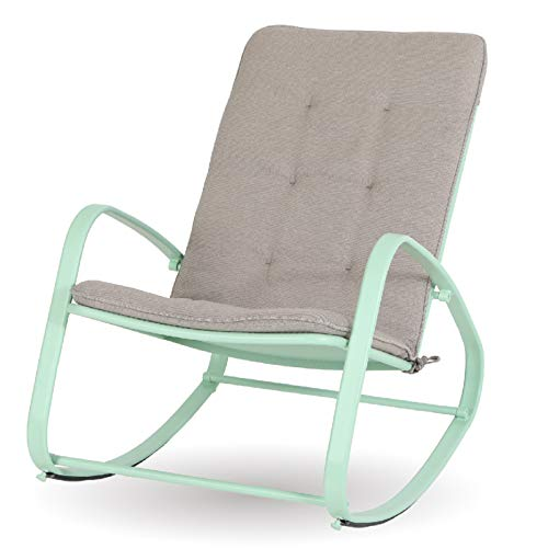 Sophia and William Outdoor Patio Rocking Chair Padded Steel Rocker Chairs Support 300lbs, Green