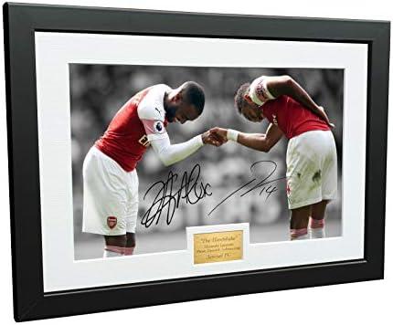 12x8 A4 Signed THE HANDSHAKE Alexandre Lacazette Pierre Emerick Aubameyang Arsenal FC Autographed product image