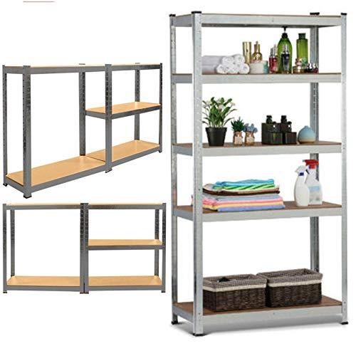 Robustes Metallregal mit 5 Etagen, 180 x 90 x 40 cm, schraubenloses Design, Lagerregale für Schuppen und Küche