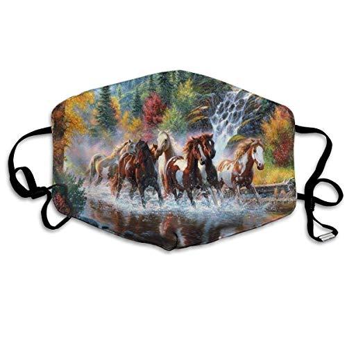 Mooie paarden lopen in rivier water gedrukt gezicht decoraties voor vrouwen en mannen
