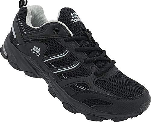 Herren Sportschuhe Sneaker Turnschuhe Schuhe Gr.41-46 Art.-Nr.67/1, Schwarz-grau, 44 EU