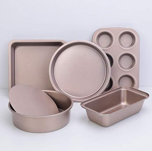 SB Home 5 Pieces Nonstick Bakeware Set Include Disc Sheet Loaf Pan Square Pan Round Cake Pan and 6 Cups Muffin Pan Kitchen Baking Tools