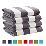 4 Pack Plush Velour 100% Cotton Beach Towels. Cabana Stripe Pool Towels for Adults. (Charcoal Grey, 4 Pack- 30' x 60')