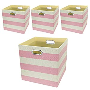 Posprica Storage Bins Storage Cubes,13×13 Collapsible Storage Boxes Containers Organizer Baskets for Nursery,Office,Closet,Shelf – 4pcs,Pink-White Striped
