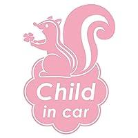 imoninn CHILD in car ステッカー 【シンプル版】 No.36 リスさん (ピンク色)