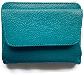 GISELLE ミニ財布 二つ折り財布 薄い スリム 牛革 レザー BOX型小銭入れ カード入 メンズ レディース 大容量 薄型 小さい財布 極薄 2つ折り 財布 コンパクト (Turquoise/ターコイズ)