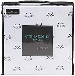 Cynthia Rowley Kitty Cat Face Sheet Set Novelty Black and White Design (Twin)