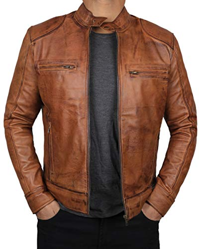 Blingsoul Mens Leather Jacket Biker Outfit   [1100494] Dodge Tan - L
