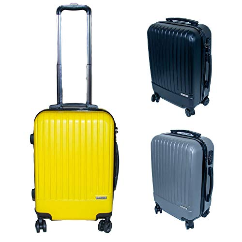 Calitek 20'' Hard Shell 4 Wheel Locking Trolley Cabin Suitcase -Yellow
