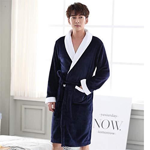 Court Chaud Corail Maison Vêtements Épais Hommes Kimono Peignoir Robe Hiver Flanelle Ceinture Pyjamas Vêtements De Nuit XXXL Bleu Marine Livraison Gratuite