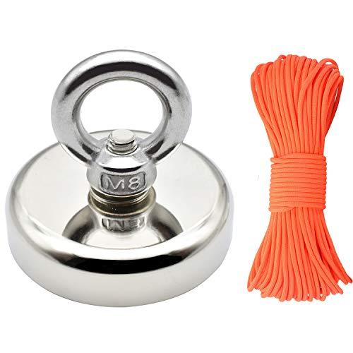 Neodym Magnet Angeln Magnet mit Seil x 98ft(30m), Durchmesser 60mm Dicke 15mm N52 Haltekraft 330LBS(150KG) Pot Magnet mit Versenktem Loch und Augenschraube für Magnet Angeln und Bergung im Fluss