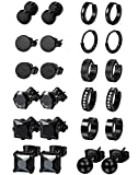 Jstyle 12 Pairs Stainless Steel CZ Stud Earrings for Women Mens Huggie Hoop Earrings Set Black