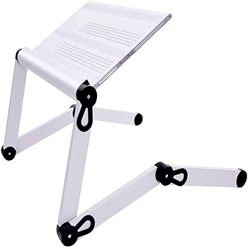 AJH Laptop Stand Desk Table, Adjustable Ergonomic Aluminum TV Bed Lap Tray Notebook Tablet Holder with Vented CPU Fans and Enlarged Mouse Pad