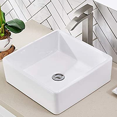 Friho 14.96''x14.96'' Modern Above Counter Square Vessel Vanity Sink White Porcelain Ceramic Lavatory Bathroom Vessel Sink