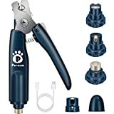 Peroom Dog Nail Grinder with 2 LED Light, Pet Dog Nail Clippers and Trimmers with Nail Storage Box, Low Noise Electric Dog Nail Trimmers Grooming for Small Medium Large Dogs and Cats
