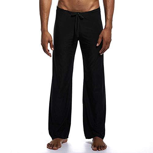 Hombre Largo Pantalones Ropa de Dormir Cómoda Transpirable Slip Hombres Dormir Fondos de los Hombres Casual Pantalones de Ropa de Hogar Ver a través de Pantalones de Pijama Negro Negro ( 41-44.5