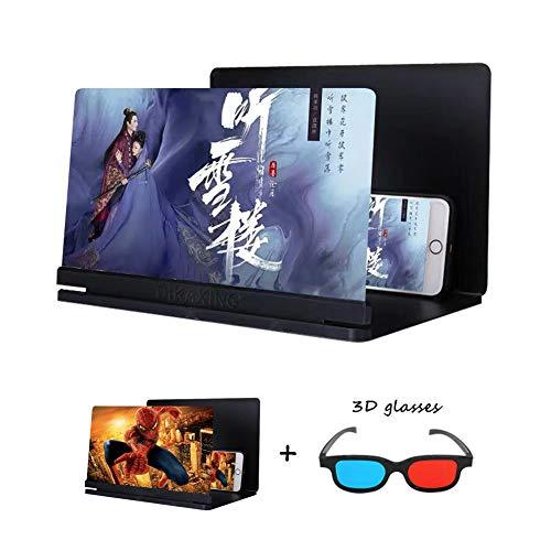 AZCSPFALB 16 Pulgadas HD Lupa de Pantalla del Teléfono Plegable Hogar Televisor Portátil Protección contra La Radiación Proyector de Alta Definición en 3D para Smartphone