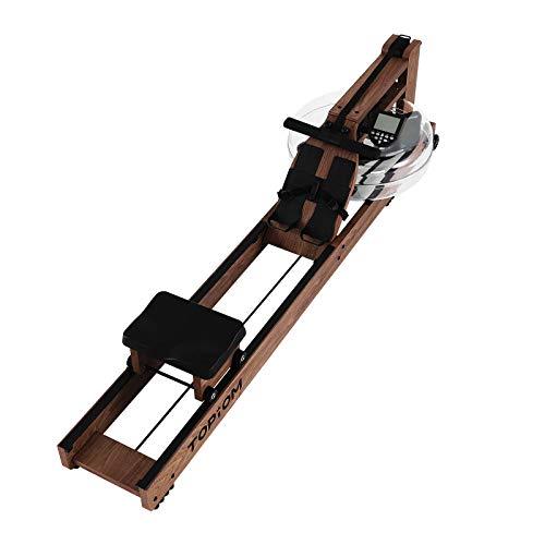 TOPIOM Rudergerät für Zuhause, aus Holz, wasserabweisend, mit verstellbarer Fußstütze und Bank, mit LCD-Display