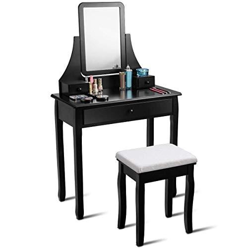 WUX Toelette Toilette con Specchio Girevole e Sgabello, Cassettone per Trucco con 3 cassetti, Set da toeletta Nero Organizer per Camera da Letto