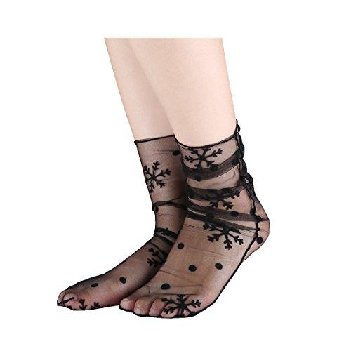 sourcingmap Damen-Socken, durchsichtig, atmungsaktiv, knöchelhoch, 10 Stück Gr. One size, Schneeflocke, Schwarz