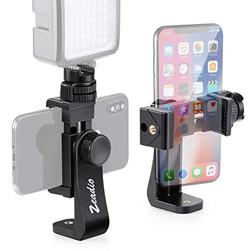 Zeadio Soporte de trípode para teléfono móvil, abrazadera adaptadora con soporte de zapata caliente, palo selfie y monopié abrazadera, compatible con iPhone, Samsung, Huawei y todos los teléfonos