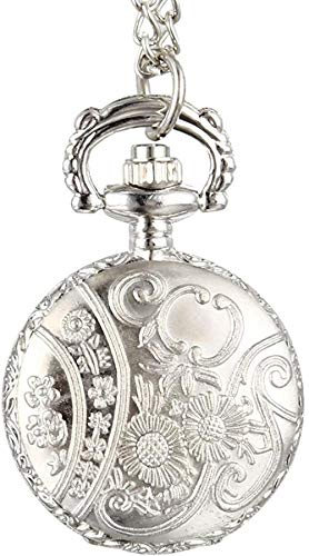 NC188 Reloj de Bolsillo de Moda Vintage para Mujer, Reloj de Bolsillo de Cuarzo, aleación ahuecada, Flores, señora, niña, suéter, Cadena, Collar, Reloj, Colgante