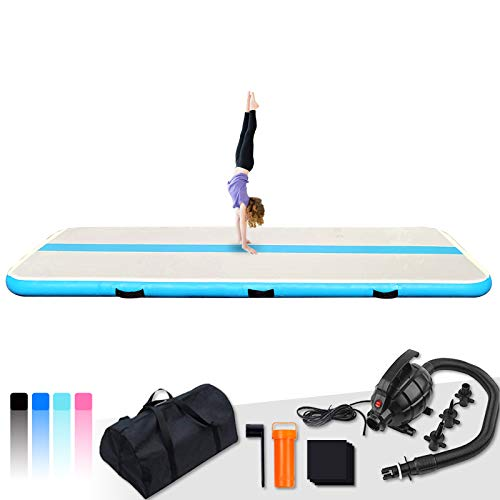 FeatherLite Inflatable Gymnastics Tumbling Mat Air Track 10ft/13ft Thick Air Floor Mat with Electric Air Pump for Training/Cheerleading/Gymnastics/Beach/Gym/Home