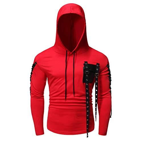 DNOQN Herren BeiläUfig Blusen Sportshirt Polohemd Herbst Winter Langarm Knopf Tasche Kapuzen Sweatshirt Pullover Mantel Top Rot L