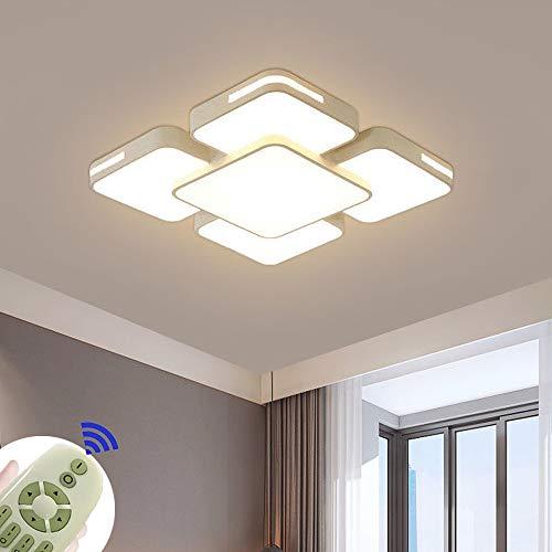 64W Lámpara de techo LED Regulable Plafon Techo Led Cuadrado Iluminación interior para Dormitorio Comedor Cocina Balcón Marco de Concha Blanco [Clase de eficiencia energética A++]