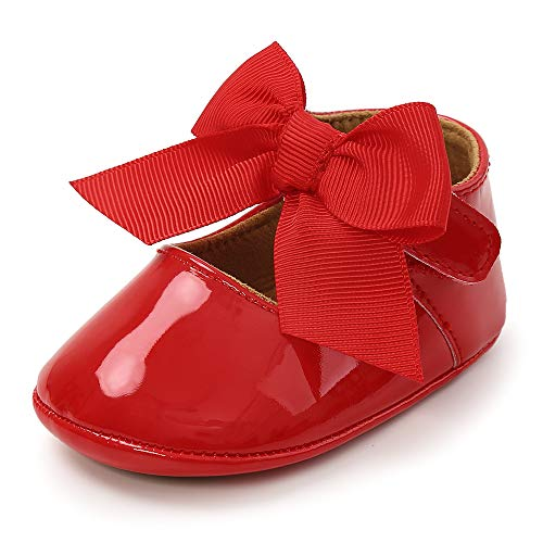 Baby Girls Mary Jane Flats Bowknot Anti-Slip Rubber Sole Toddler First Walkers Princess Dress Shoes, Red 3-6 Months