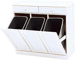 SEMI-HG キッチンカウンター ダストボックス 25Lペール3個付き 完成品 幅90 分別 ゴミ箱付き 75L 木製 フラップ式 引き出し付き キャスター付き タイル天板 大容量 (ホワイトウォッシュ) HG-MUD-6723