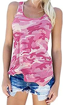 Zcavy Women Camouflage Tops Stretchy Workout Hiking Tank Tops Quick Dry Sports T-Shirts Comfortable Running Shirts Novelty Tanks Teen Tank Tops for Juniors Camo Tank Top Women Yoga Clothes Pink M