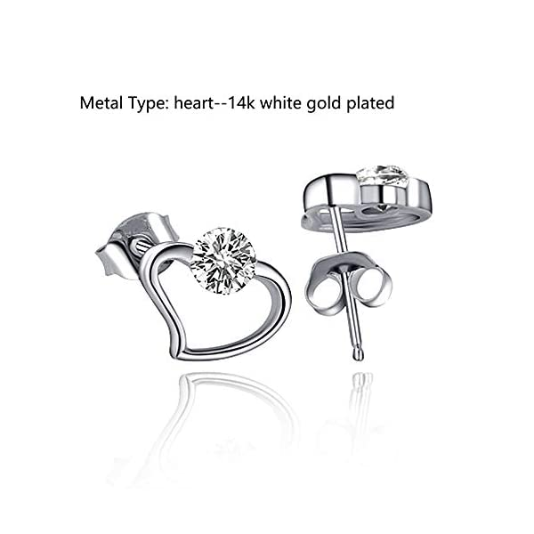 Gold Plated Heart Crystals Stud Earrings Jewelry Gifts for Mother/Wife/Sister