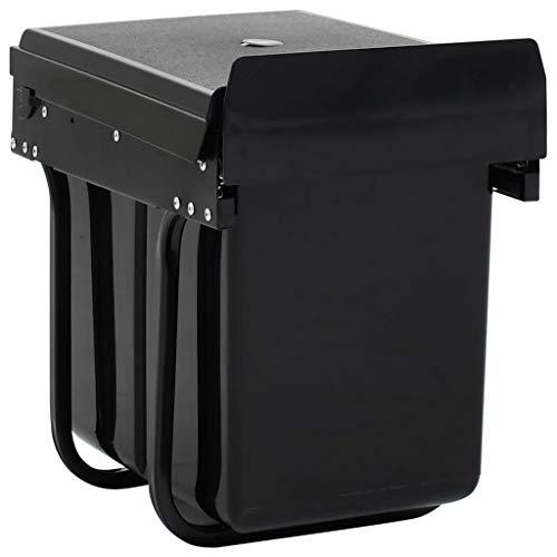 Festnight Cubo de Basura de Cocina Extraíble Reciclaje Cierre Suave 20 L Contenedor de Basura 34 x 26 x 35,1 cm Negro