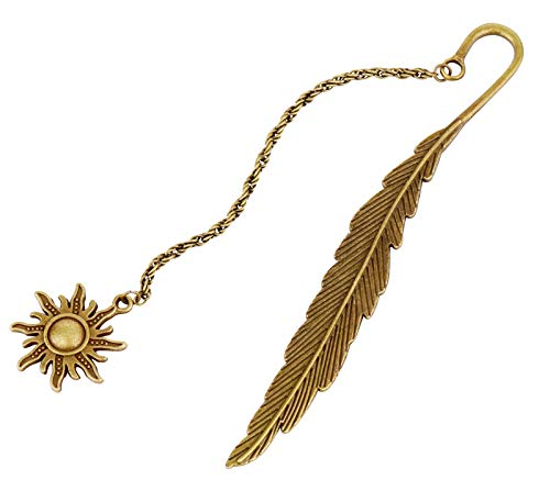 YANPLS Metal Feather Bookmarks for Kids Girls Women Men Book Marks for Book Lovers Cool Cute Vintage Marker (Sun Fall)