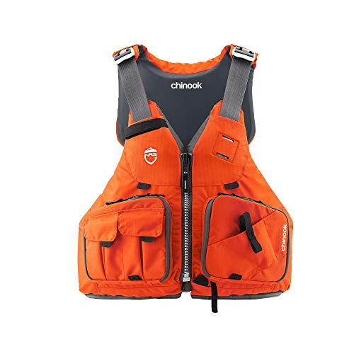 NRS Chinook Type III Fishing Life Vest PFD with Pockets, Size Large/XL, Orange