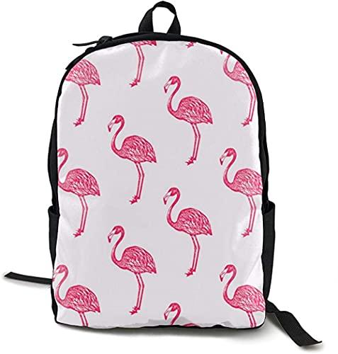 La mochila de viaje de campus para niños y niñas con impresión completa se puede personalizar,Mochila escolar floral roja del equipo del flamenco del poliéster ligero Mochilas escolares Laptop