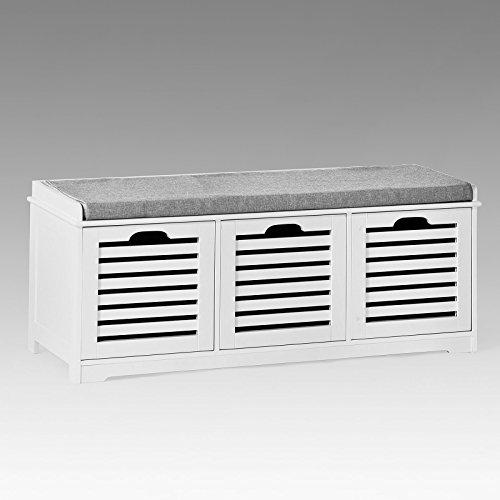 SoBuy Banco de Almacenamiento con Acolchados Cojines y 3 Cubos, Entrada Zapato Gabinete Dresser...