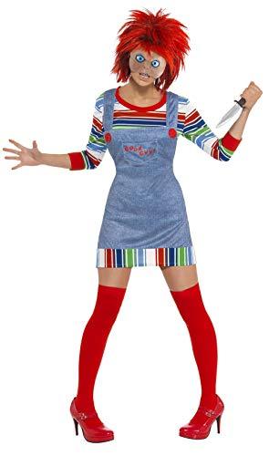 Smiffy's - Dames Chucky kostuum, jumper, broek, masker en pruik, blauw Medium blauw