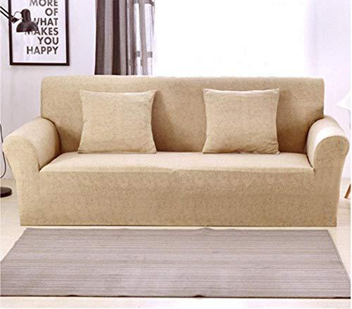 NLADTWLSD Funda de Sofá Elástica Color sólido Cubierta Protector para Sofá Ajustable Poliéster Spandex Cubre Sofá, Protector Cubierta para Sofá Amarillo,3 Asiento (190-230 cm)