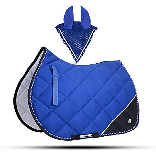 7MX4 GLP Numnah Tapis de selle pour femme Amara Paume libre Oreille Cob, Bleu roi