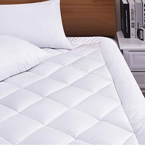Hokly King Size Mattress Pad Hypoallergenic Cover Cooling 300TC Down Fill Polyester Cover Bed Topper with Snow Down Alternative Filler(Fit to 8-21 Inches Thickness Mattress),King