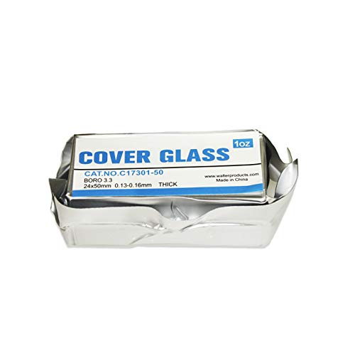 Jackson Global JAC301-50 Pre-Cleaned Boro 3.3 Microscope Glass Cover Slip | 24X50mm | Thickness No1
