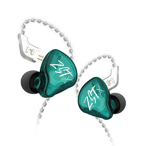 KZ ZST X in-Ear Monitors, Upgraded Dynamic Hybrid Dual Driver ZSTX Earphones, HiFi Stereo IEM Wired Earbuds/Headphones with Detachable Cable for Musician Audiophile (Without Mic, Cyan)