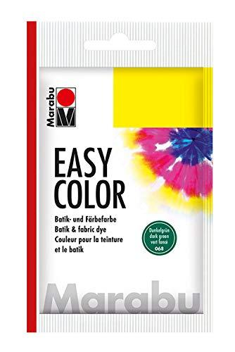 Marabu 17350022068 - Easy Color dunkelgrün, Batik- und Handfärbefarbe für Baumwolle, Leinen, Seide und Mischgewebe, handwaschbar bis 30°C, sehr gute Lichtechtheit, nicht kochecht, 25 g