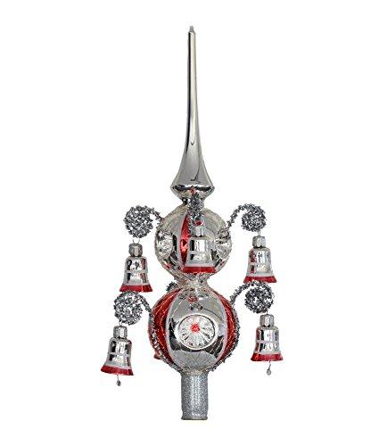 Thüringer Weihnacht 52-055 - Punta per Albero di Natale con Palline da 6 + 7 cm, 6 Reflex, Rivestita da 6 Campanelle, Argento con Strisce Rosse