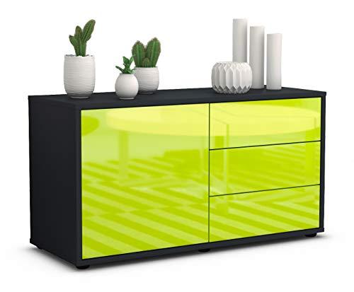 Stil.Zeit TV Schrank Lowboard Alessandra, Korpus in anthrazit matt/Front im Hochglanz Design Limettengrün (92x49x35cm), mit Push to Open Technik und hochwertigen Leichtlaufschienen, Made in Germany