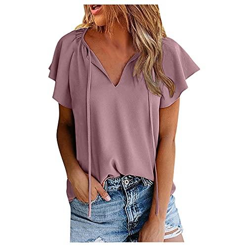 Dasongff T-Shirt Oberteile Damen Shirt Sexy V-Ausschnitt Sommertop Oberteil für Damen Tops Kurzarm Sommer Beiläufiges Tshirt Hemd Freizeit Tees Blusentops Longbluse Tunika Damenbluse Sweatshirts