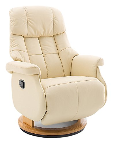 Robas Lund Leder Relaxsessel bis 130 Kg TV Sessel, Relaxer Fernsehsessel Echtleder creme, Calgary Comfort L