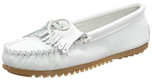 Minnetonka Deerskin Soft-T 64, Damen Mokassins, weiss, (white deerskin), EU 42, (US 11)